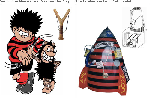 The stars of the show - Dennis the Menace & the finished rocket