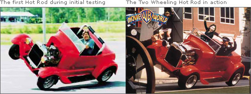 The Two Wheeling Hot Rod in action & The first Hot Rod during initial testing