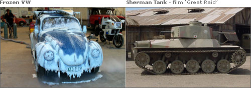 Frozen VW - film 'Inspector Gadget II' & Sherman Tank - film 'Great Raid'