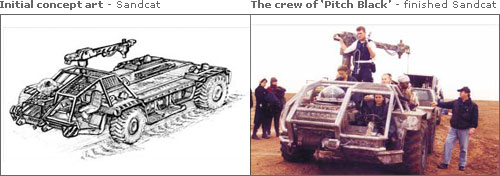 Initial concept art - Sandcat & The crew of Pitch Black - finished Sandcat